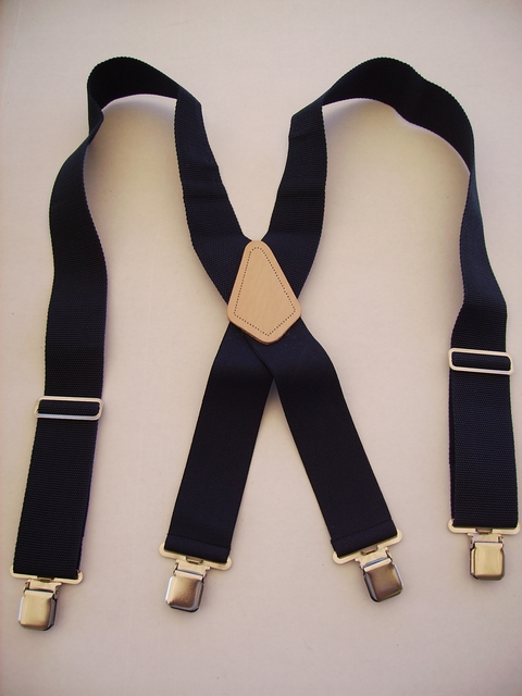 "2"" wide. Assorted SIZES. to fit 5' 6"" to 7' 5"" tall.  Heavy Duty Industrial Suspenders that are NON-STRETCHABLE Cotton/Polyester Material in the front and in the back. Has Genuine Leather Patch and Four Stainless Steel Industrial Grips 1.09""x 1.96"" including heavy duty bracket and has two strong Length Adjusters.    YA450N-A3"
