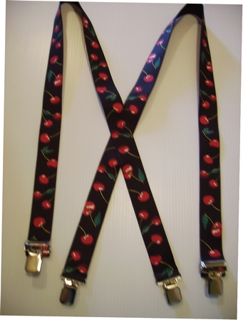 "CHERRIES 1 1/2"" Assorted Sizes   Red on Black.  Suspenders with 4 strong 1""x 1"" Grips and 2 Length Adjusters in the front, all in NICKEL FINISH.   Entirely Stretchable Cotton/Polyester Material.           UB220N-CHBK"