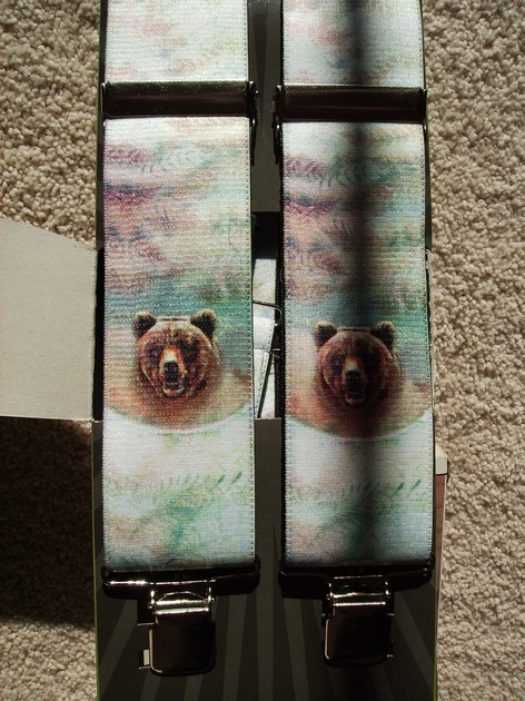"WILDLIFE BEAR  1 1/2""X48""  Suspenders with 4 strong 1""x 1"" Grips and 2 Length Adjusters in the front, all in Stainless Steel FINISH.  Entirely Stretchable Hand Washable and Hang to Dry Cotton/Polyester Material.            UB220N48WLBR"