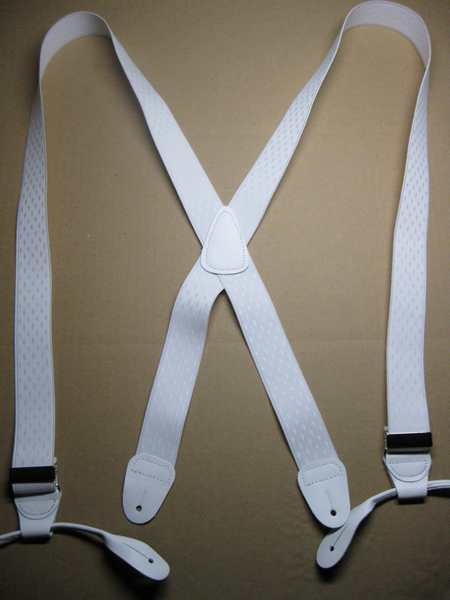 "1 1/3"" wide. ""X""  STYLE.  w/Ears - Diamond Design. Assorted SIZES. DELUXE, Silky, Tightly Woven Cotten/Polyester, hand washable-hang to dry Suspenders with Straps that are stretchable for entire length of the material with Two Secure CHROME Length Adjusters, Four Genuine Leather Attachments.       X-JB190ND-E2A"