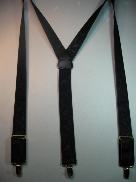 "PEACOCKS DESIGN - NAVY COLOR  1 1/3"" X 48"" DELUXE SUSPENDERS-Cotton/Polyester Hand Washable-Hang to Dry Material.WITH GOLD GRIPS AND ADUSTERS      YD-PEA76B48#111g"