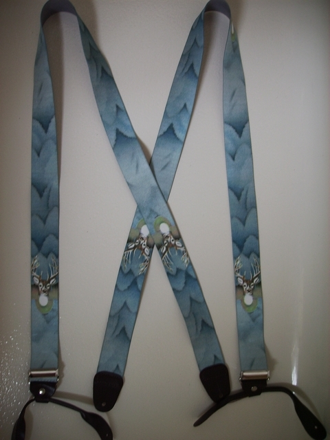 BUTTON-ON DEER Suspenders 1 1/2 inches wide and 48 inches long. UB120N48WLD1