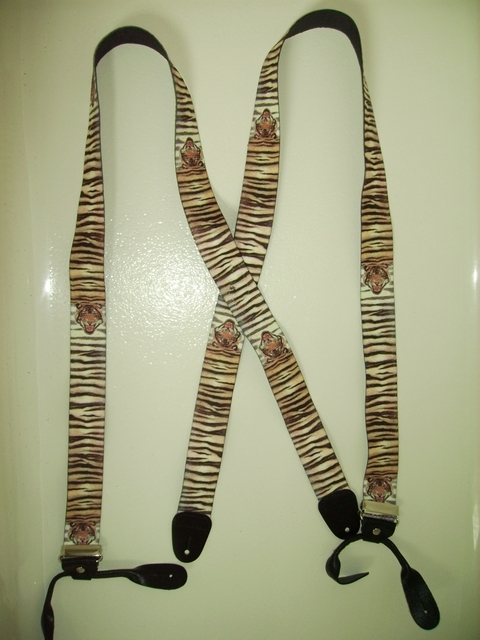 "BUTTON-ON WILDLIFE TIGER Suspenders 1 1/2"" wide and 54"" long.   Genuine Leather Ends. Entirely Stretchable Hand Washable and Hang to Dry Cotton/Polyester Material.              UB120N54WLTG"