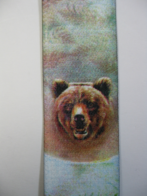 "WILDLIFE BEAR Button On. 1 1/2""x 48"" ""Y""  Style  Leather Ends. Entirely Stretchable Hand Washable and Hang to Dry Cotton/Polyester Material.           YB-PB130N48WLBR"