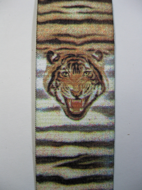 "WILDLIFE TIGER  Button On.1 1/2""x 60"" ""Y""  Style  Leather Ends. Entirely Stretchable Hand Washable and Hang to Dry Cotton/Polyester Material.           YB-PB130N60WLTG"