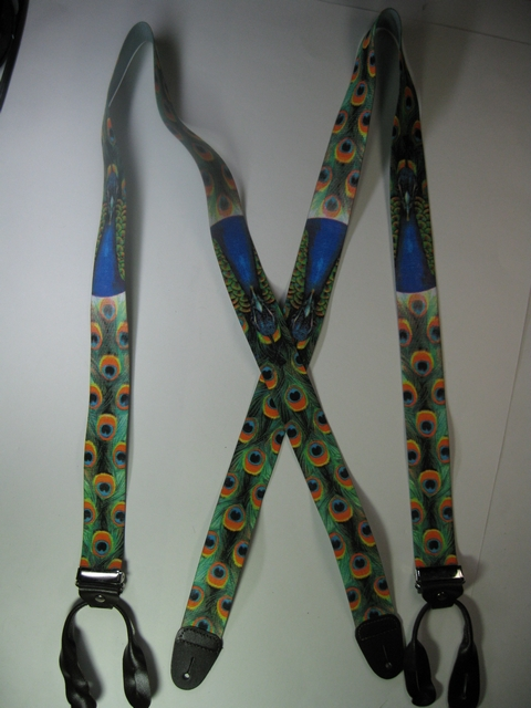 "BUTTON-ON WILDLIFE PEACOCK Suspenders 1 1/2"" wide and 48"" long      UB120N48WLPC"