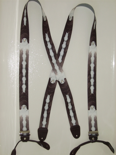 BUTTON-ON EAGLE Suspenders 1 1/2 inches wide and 48 inches long UB120N48WLEG